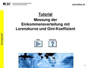 Tutorial Messung der Einkommensverteilung mit Lorenzkurve und Gini-Koeffizient