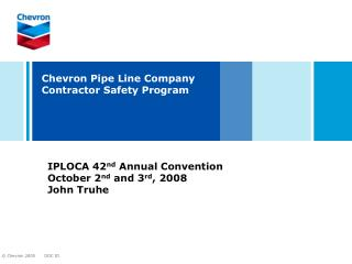 Chevron Pipe Line Company Contractor Safety Program
