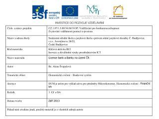 Licence bank Banky na území ČR
