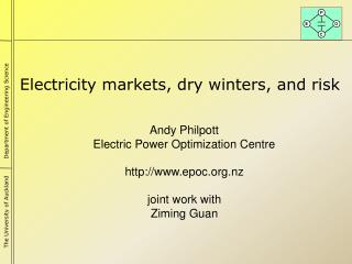 Electricity markets, dry winters, and risk