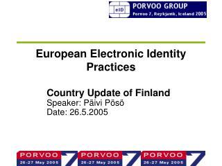 European Electronic Identity Practices