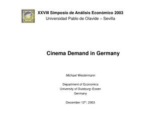Cinema Demand in Germany