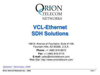 VCL-Ethernet  SDH Solutions