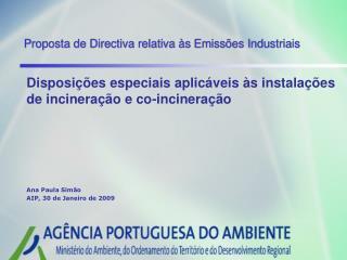 Proposta de Directiva relativa às Emissões Industriais
