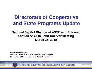 Directorate of Cooperative  and State Programs Update