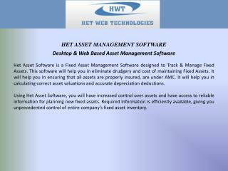 Desktop & Web Based Asset Management Software