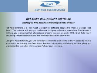 Desktop & Web Based Asset Management Software