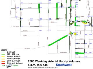 2005 Weekday Arterial Hourly Volumes:   5 a.m. to 6 a.m. Southwest
