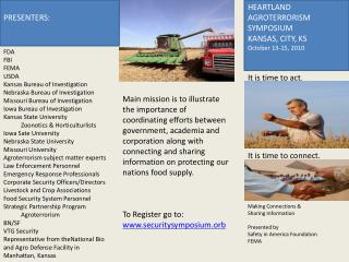 HEARTLAND AGROTERRORISM SYMPOSIUM KANSAS, CITY, KS October 13-15, 2010