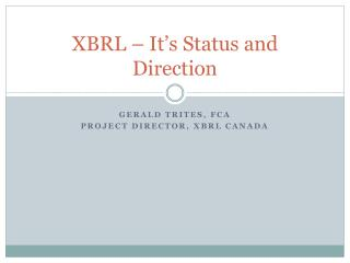 XBRL – It's Status and Direction