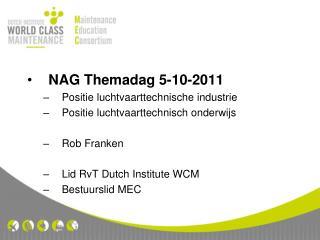 NAG Themadag 5-10-2011 Positie luchtvaarttechnische industrie