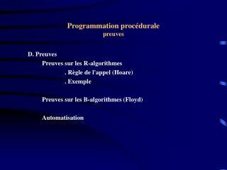Programmation procédurale preuves