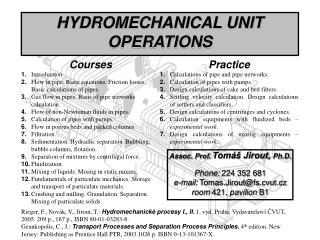 HYDROMECHANICAL UNIT OPERATIONS