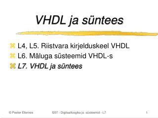 VHDL ja süntees