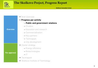 The Skolkovo Project, Progress Report