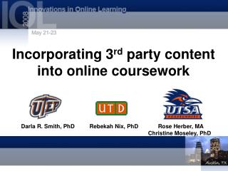 Incorporating 3 rd  party content into online coursework