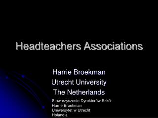 Headteachers Associations