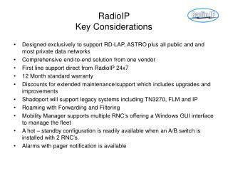 RadioIP  Key Considerations