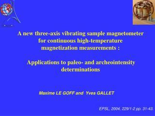 EPSL, 2004,  229/1-2 pp. 31-43 .