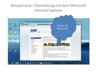 Beispiel einer Übersetzung mit dem Microsoft Internet Explorer