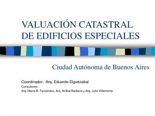 VALUACI Ó N CATASTRAL DE EDIFICIOS ESPECIALES