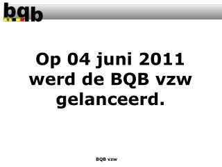 Op 04 juni 2011 werd de BQB vzw gelanceerd.