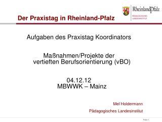 Aufgaben des Praxistag Koordinators Maßnahmen/Projekte der vertieften Berufsorientierung (vBO)