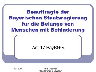 Beauftragte der  Bayerischen Staatsregierung  für die Belange von Menschen mit Behinderung