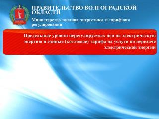 ПРАВИТЕЛЬСТВО ВОЛГОГРАДСКОЙ ОБЛАСТИ Министерство топлива, энергетики  и тарифного регулирования