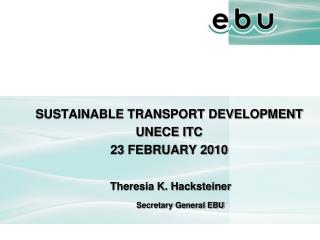 SUSTAINABLE TRANSPORT DEVELOPMENT UNECE ITC  23  FEBRUARY 2010  Theresia K. Hacksteiner