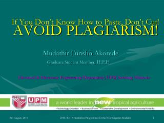 AVOID PLAGIARISM!