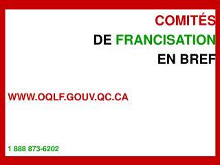 COMIT S DE FRANCISATION EN BREF