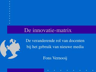 De innovatie-matrix