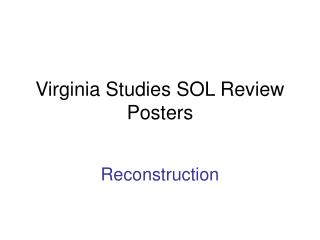 Virginia Studies SOL Review Posters