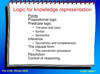 Logic for knowledge representation