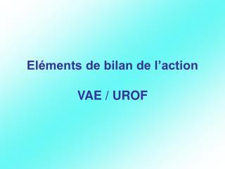 Eléments de bilan de l'action  VAE / UROF