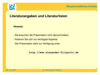 Literaturangaben und Literaturlisten