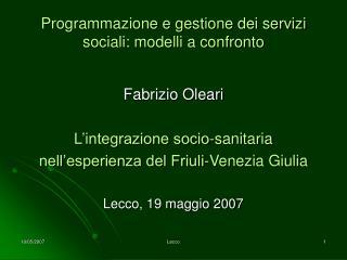 Programmazione e gestione dei servizi sociali: modelli a confronto