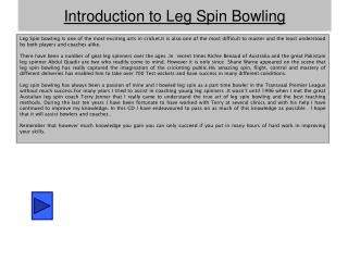Introduction to Leg Spin Bowling