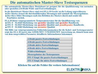 Die automatischen Master-Slave Testsequenzen