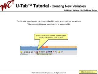 U-Tab  Tutorial - Creating New Variables  Multi Code Variable - Net