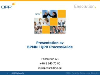Presentation  av BPMN  i  QPR ProcessGuide