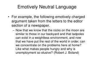 Emotively Neutral Language