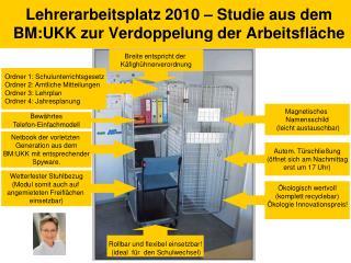Lehrerarbeitsplatz 2010 – Studie aus dem BM:UKK zur Verdoppelung der Arbeitsfläche