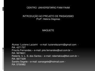 CENTRO  UNIVERSITARIO FIAM FAAM INTRODUÇÃO AO PROJETO DE PAISAGISMO Profª. Helena Degreas MAQUETE