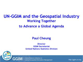 UN-GGIM and the Geospatial Industry Working Together  to Advance a Global Agenda