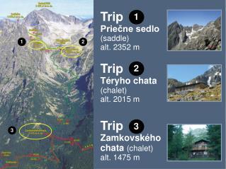 Trip Priečne sedlo (saddle ) alt. 2352 m Trip Téryho chata (chalet ) alt. 2015 m Trip Zamkovského