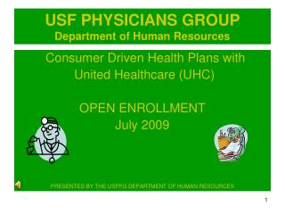 USF PHYSICIANS GROUP Department of Human Resources
