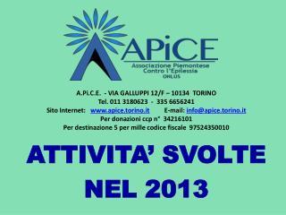 ATTIVITA' SVOLTE NEL 2013