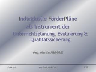 I ndividuelle  F �rder P l�ne  als Instrument der